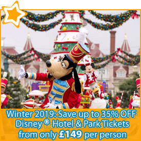 Winter 2019 : Save up to 35% OFF Disney Hotel & Park Packages from £149
